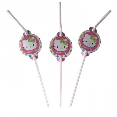 Hello Kitty Temalı Pipet 10 Adet